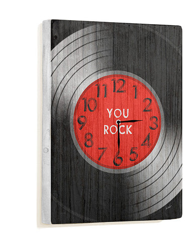 You Rock Record Wall Clock by Artist Lisa Weedn