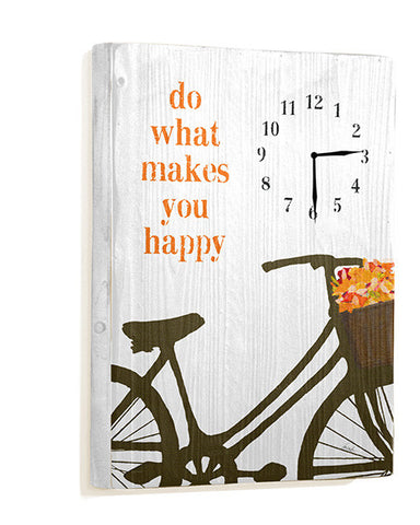 Do What Makes You Happy Wall Clock by Artist Lisa Weedn