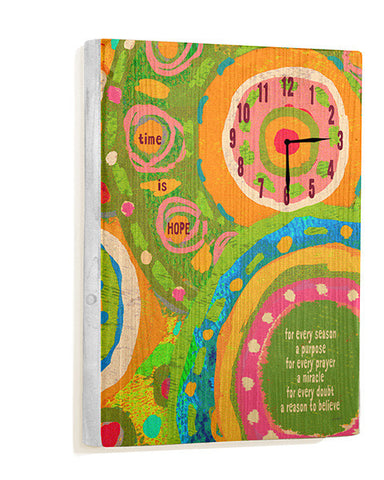 Time is Hope Wall Clock by Artist Lisa Weedn