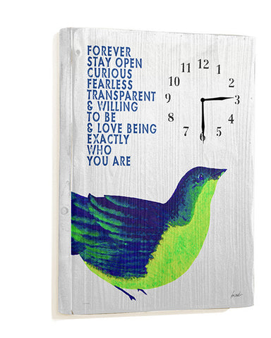 Forever Stay Open Wall Clock by Artist Lisa Weedn