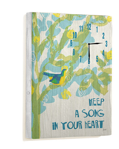 Keep A Song In Your Heart Wall Clock by Artist Lisa Weedn