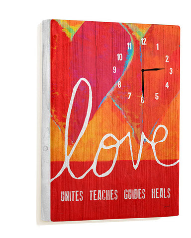 Love Unites Teaches Guides Heals Wall Clock by Artist Lisa Weedn