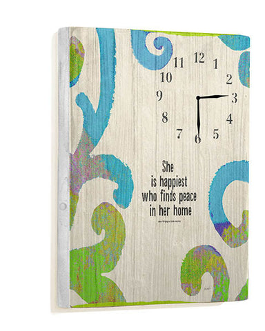 She is Happiest Wall Clock by Artist Lisa Weedn
