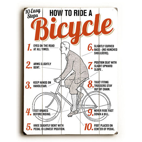 Ride A Bicycle by Artist Michael Dexter Wood Sign