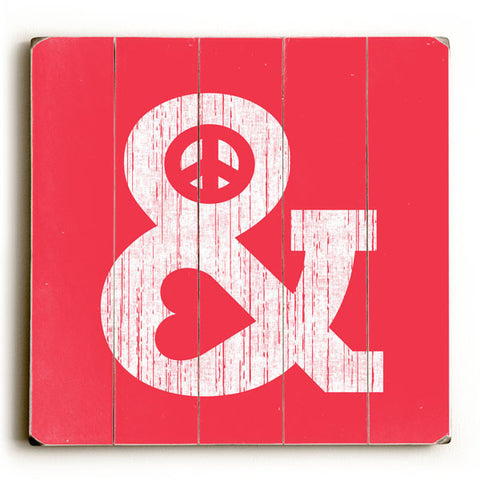 Peace And Love by Artist Budi Satria Wood Sign