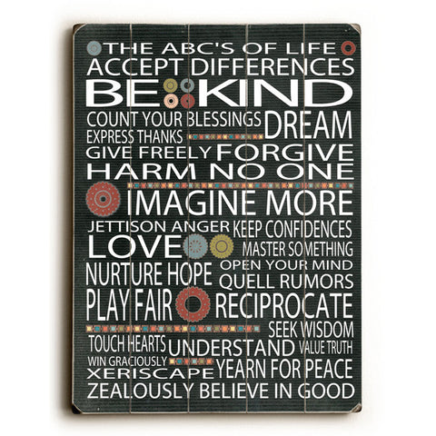 Abc's Of Life by Artist Terry Kempfert Wood Sign