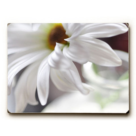 Subtle White Flower by Artist Lisa Argyropoulos Wood Sign