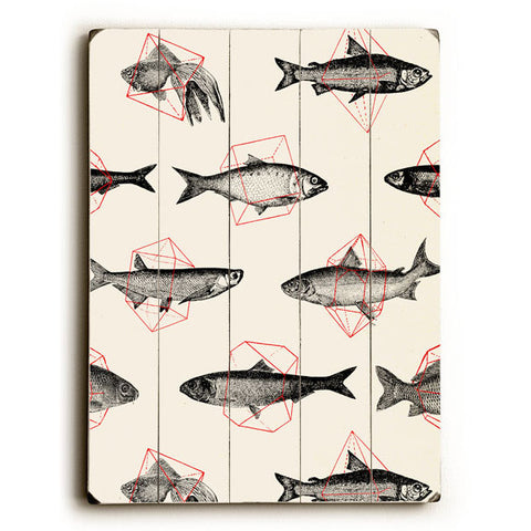 Fishes in Geometrics by Artist Florent Bodart Wood Sign