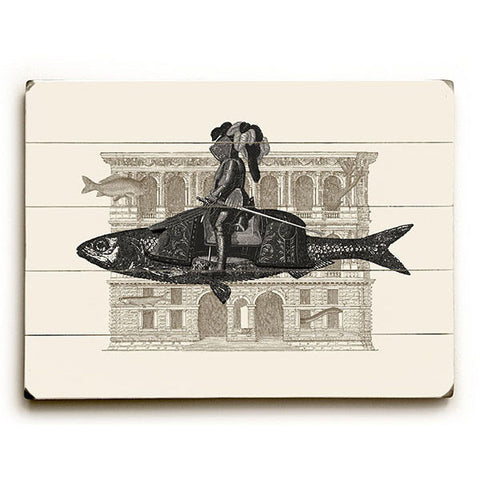 Riding Fish by Artist Florent Bodart Wood Sign