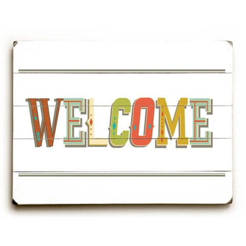 Welcome by Artist Rebecca Peragine Wood Sign
