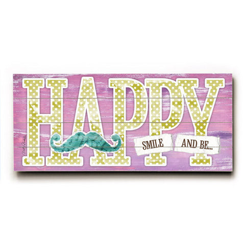 Happy by Artist Misty Diller Wood Sign