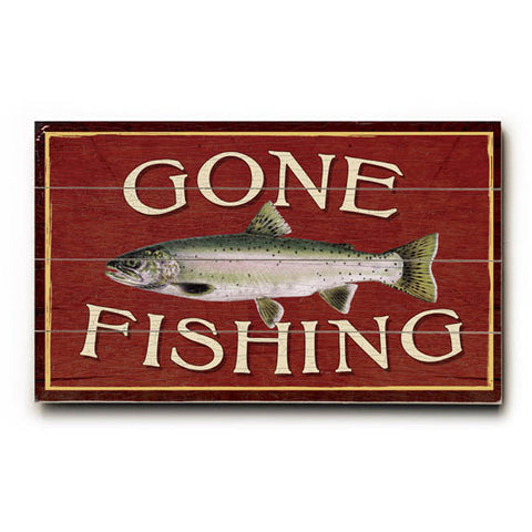 Gone Fishing Wood Sign