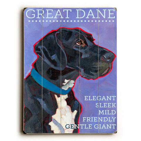 Great Dane by Artist Ursula Dodge Wood Sign