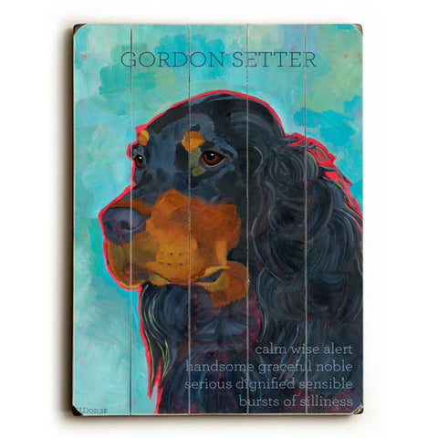 Gordon Setter by Artist Ursula Dodge Wood Sign