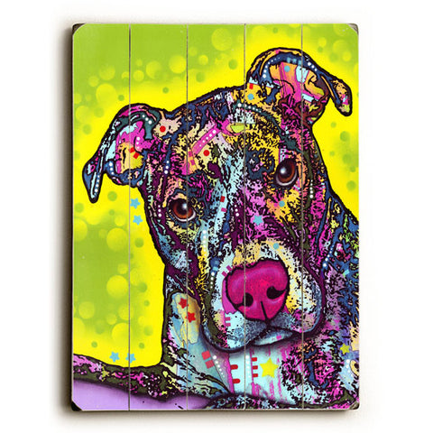 Brindle by Artist Dean Russo Wood Sign