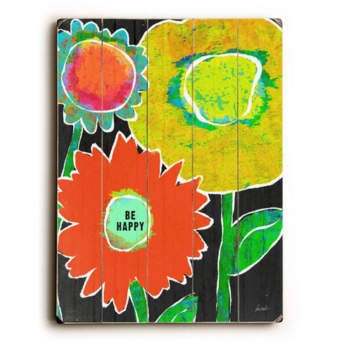 Be Happy Flower by Artist Lisa Weedn Wood Sign