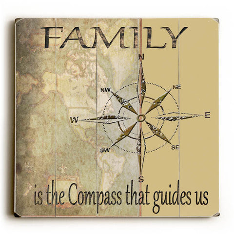 Family Is The Compass That Guides Us by Artist Karen Williams Wood Sign