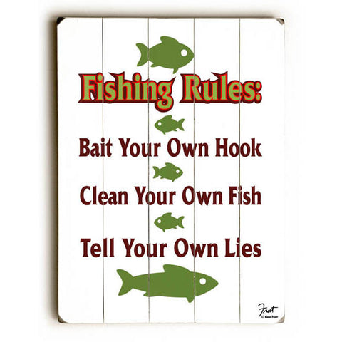 Fishing Rules Wood Sign