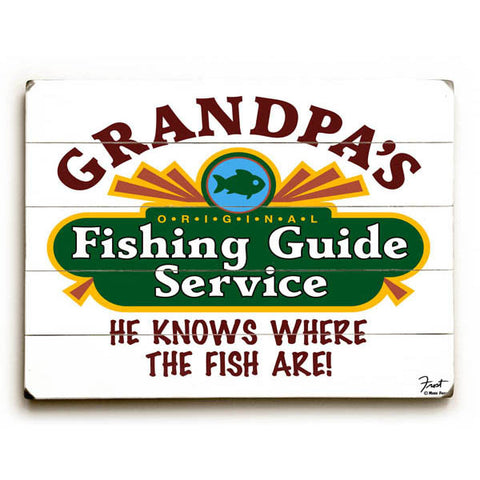 Grandpa's Fishing Guide Wood Sign