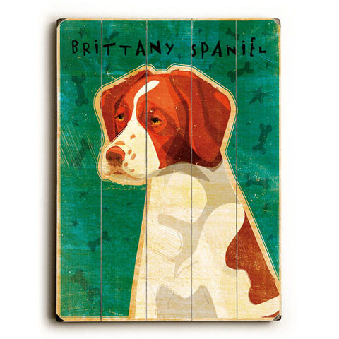Brittany Spaniel by Artist John W. Golden Wood Sign