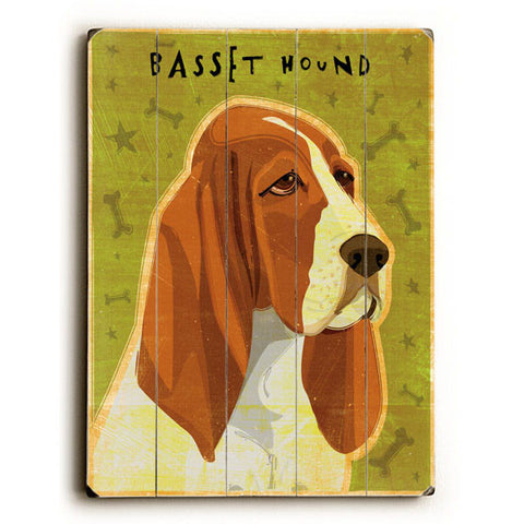 Basset Hound by Artist John W. Golden Wood Sign
