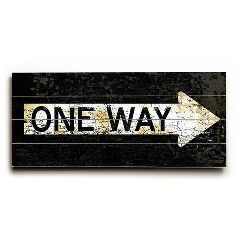 One Way by Artist Peter Horjus Wood Street Sign