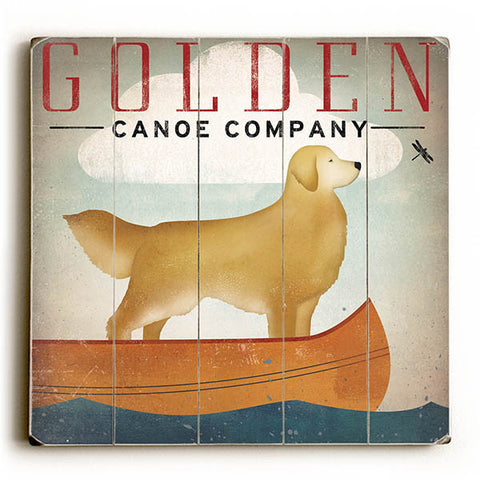 Golden Dog Canoe I by Artist Ryan Fowler Wood Sign