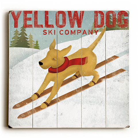 Yellow Dog Ski by Artist Ryan Fowler Wood Sign