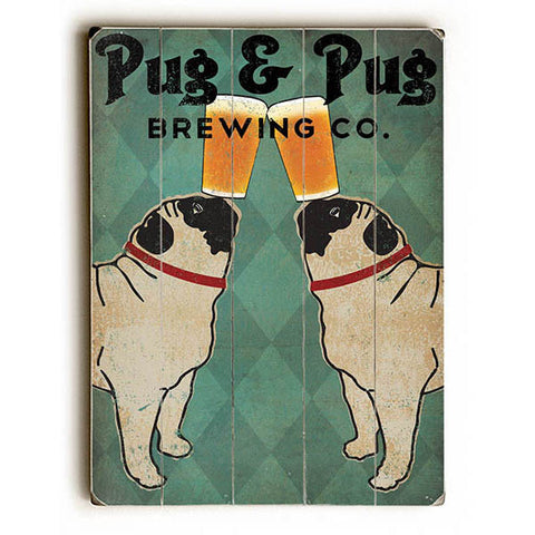 Pug And Pug Brewing by Artist Ryan Fowler Wood Sign