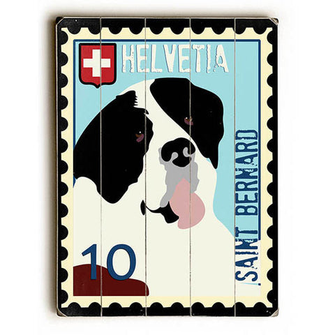 Saint Bernard Postage Stamp by Artist Ginger Oliphant Wood Sign