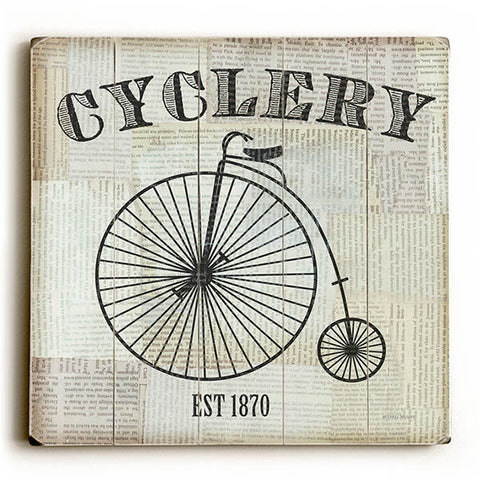 Cyclery by Artist Michael Mullan Wood Sign