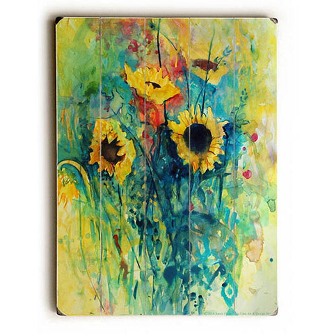 Sunflowers by Artist Annie Flynn Wood Sign