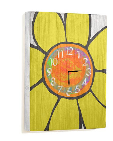 Green Flower Wall Clock by Artist Lisa Weedn