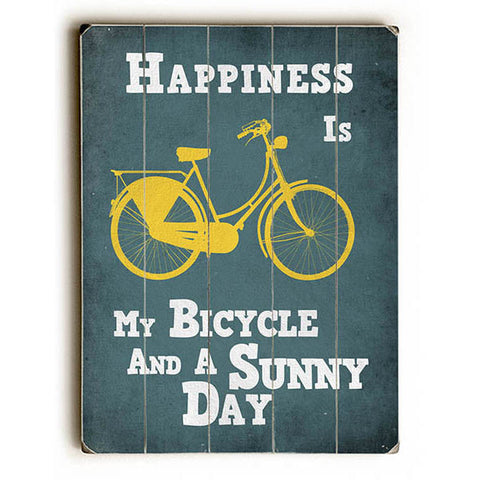 Happiness Is My Bicycle by Lotus Leaf Collection Wood Sign