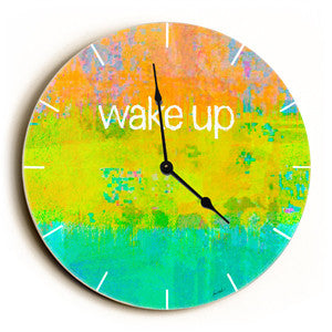 Wake Up Unique Wall Clock by Artist Lisa Weedn