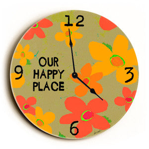 Our Happy Place Unique Wall Clock by Artist Lisa Weedn