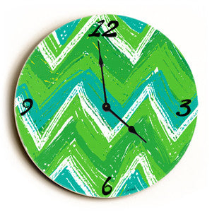 Crazy Stripes Unique Wall Clock by Artist Lisa Weedn