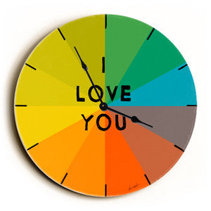 I Love You Unique Wall Clock by Artist Lisa Weedn
