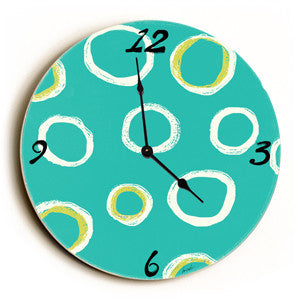 Circle Pattern Unique Wall Clock by Artist Lisa Weedn