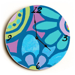 Cool Flower Pattern Unique Wall Clock by Artist Lisa Weedn