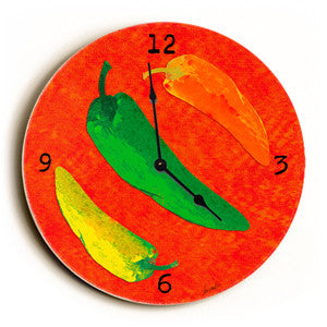 Peppers Unique Wall Clock by Artist Lisa Weedn