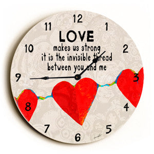 Love Makes Us Strong Unique Wall Clock by Artist Lisa Weedn