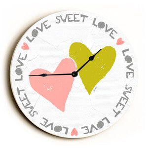Love Sweet Love Unique Wall Clock by Artist Lisa Weedn
