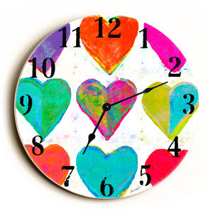Heart Pattern Unique Wall Clock by Artist Lisa Weedn