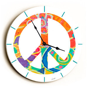 Peace Unique Wall Clock by Artist Lisa Weedn
