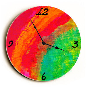 Rainbow Unique Wall Clock by Artist Lisa Weedn