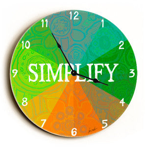 Simplify Unique Wall Clock by Artist Lisa Weedn