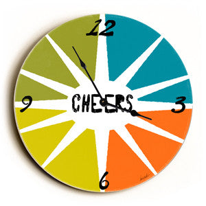 Cheers Unique Wall Clock by Artist Lisa Weedn