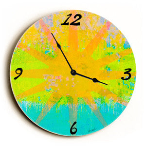 Sun Beam Unique Wall Clock by Artist Lisa Weedn