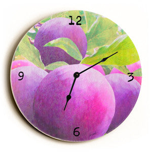 Purple Plum Unique Wall Clock by Artist Lisa Weedn